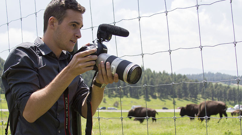 Dom DiFurio captures footage of wildlife while reporting in Colorado with a team of three other News21 fellows in June. Photo by Jessie Wardarski/News21