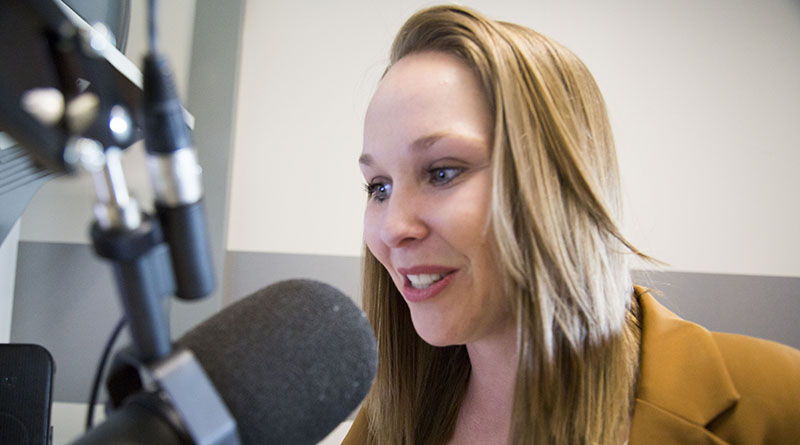 Katie Campbell records a podcast in the Walter Cronkite School of Journalism and Mass Communication at Arizona State University.