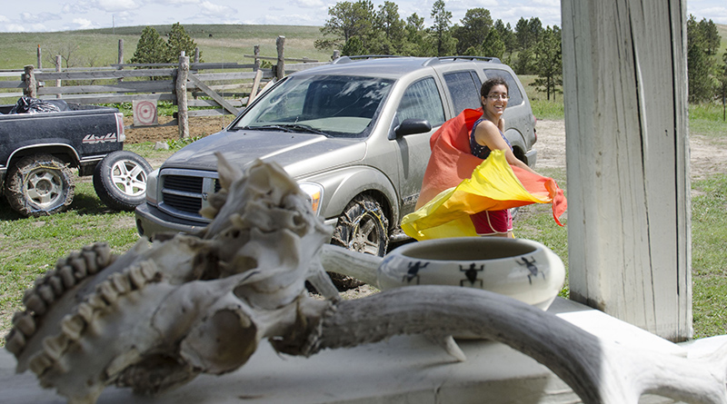 Lex Talamo dances on the Pine Ridge reservation in South Dakota. (Photo by Kelcie Johnson/News21)