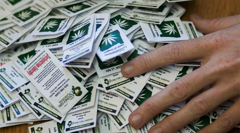 Stoney Girl Gardens, a medical marijuana seed company, will give away commemorative seeds on Wednesday to celebrate the legalization of marijuana in Oregon. (Photo by Kathryn Boyd-Batstone/News21)